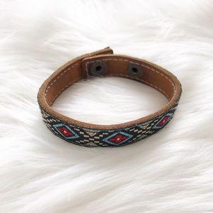 Vintage Tribal Leather Snap Skinny Cuff Bracelet